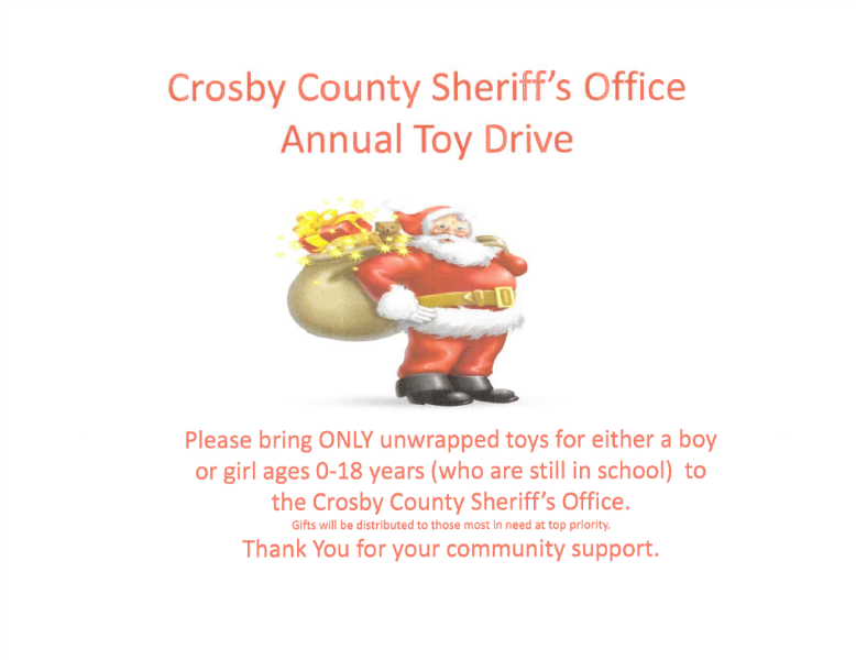 City of Lorenzo - Crosby County Sheriff's Office Annual Toy